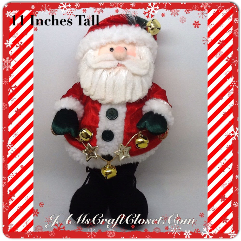 Santa Vintage Hanging  Red and White With Bell and Star Garland 11 Inches Tall