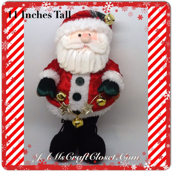 Santa Vintage Hanging  Red and White With Bell and Star Garland 11 Inches Tall JAMsCraftCloset
