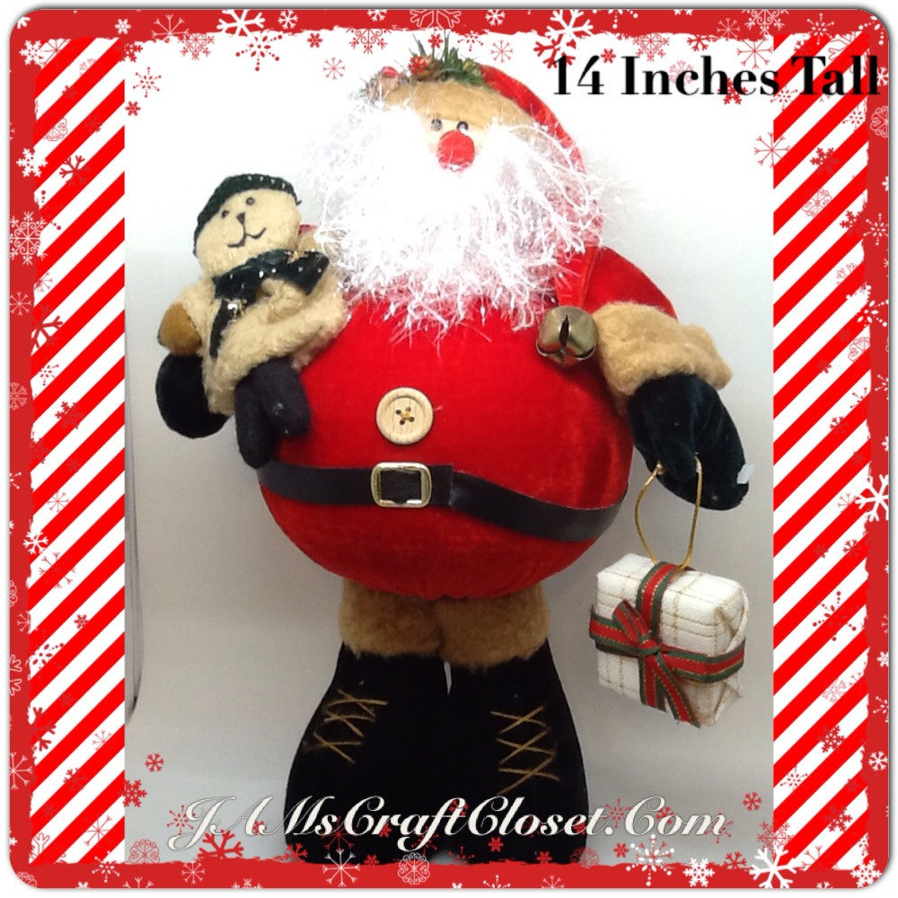 Santa Vintage Standing Red Tan Fat Belly Sparkly Beard Teady Bear and Package 14 Inches Tall