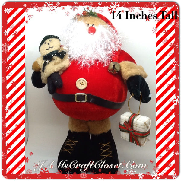 Santa Vintage Standing Red Tan Fat Belly Sparkly Beard Teady Bear and Package 14 Inches Tall JAMsCraftCloset