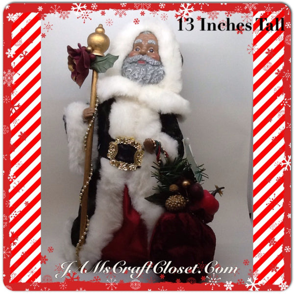 Santa Vintage Ethnic Standing Red and Green With Staff and Bag 13 Inches Tall JAMsCraftCloset