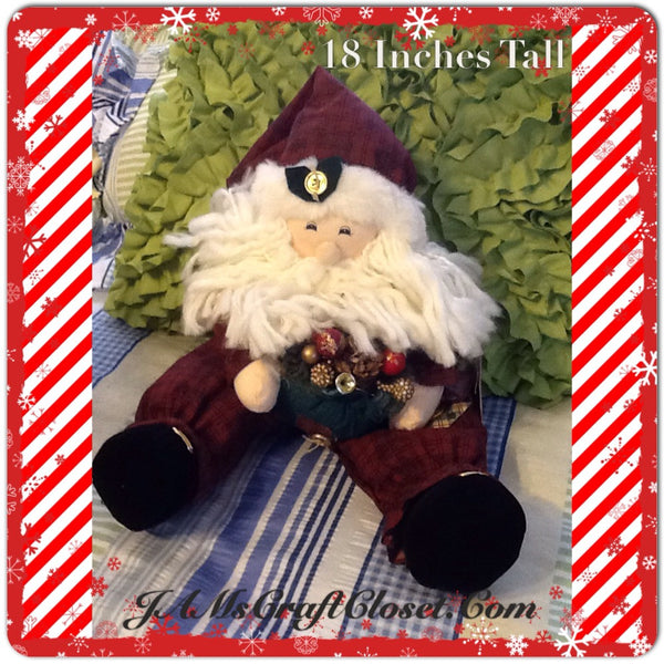 Santa Vintage Primitive Burgundy and Green SITTING 18 Inches Tall With Patchwork Heart and Bag JAMsCraftCloset
