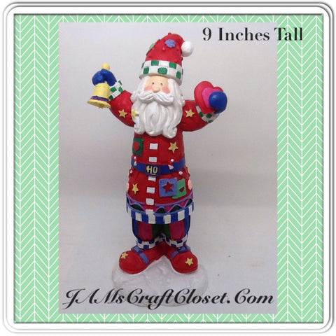 Santa Vintage Red White Blue Green Shelf Sitter 9 Inches Tall Holiday Decor Holding Bell Hearts