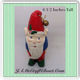 Santa Vintage Shelf Sitter 6 1/2 Inches Tall Holiday Decor