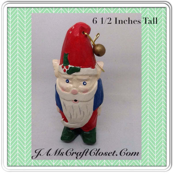 Santa Vintage Shelf Sitter 6 1/2 Inches Tall Holiday Decor  This vintage shelf sitter Santa is made of some type of light wood, maybe Balsa.  He is bright and cheery JAMsCraftCloset