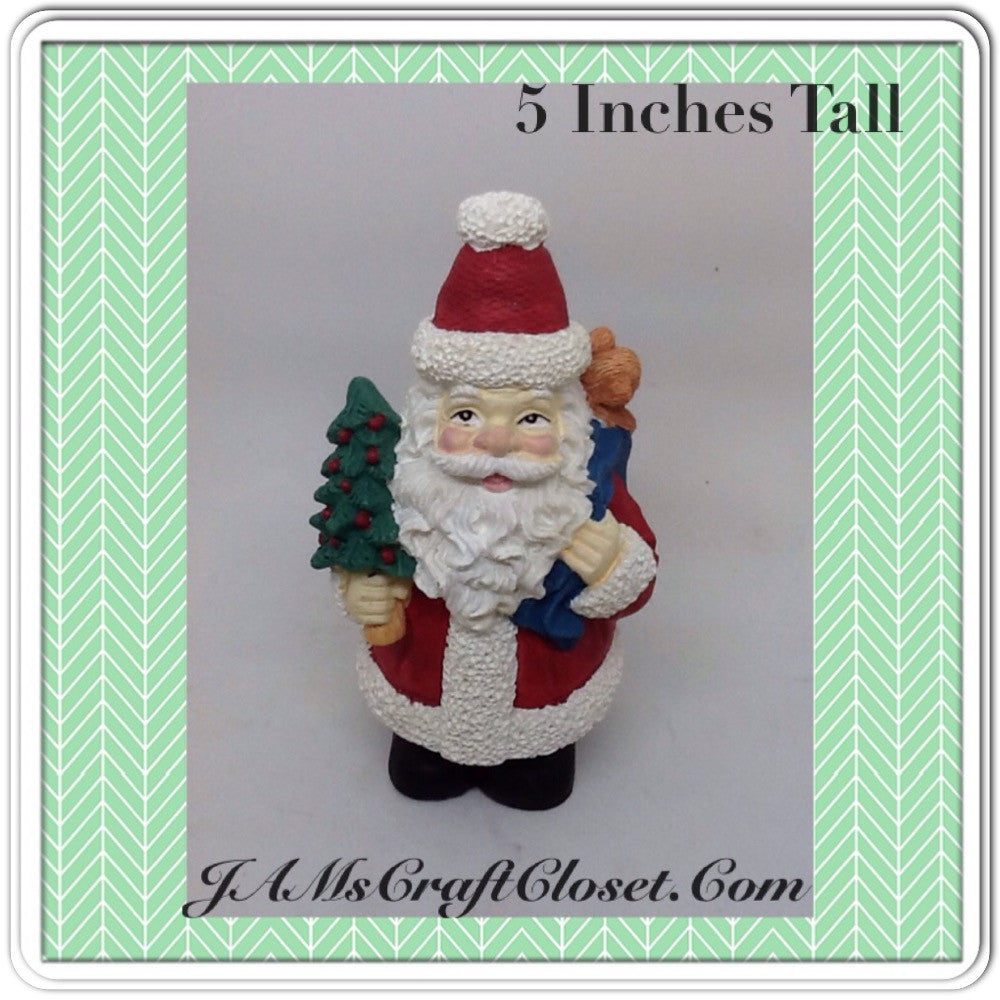 Santa Vintage Shelf Sitter 5 Inches Tall Holiday Decor With Tree and Bag of Goodies