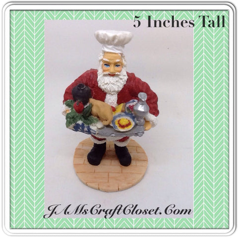 Santa Vintage Chef Shelf Sitter 5 Inches Tall Holiday Decor With Chef's Hat and Tray of Food