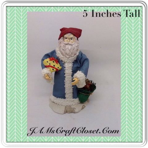 Santa Vintage Blue Red Shelf Sitter 5 Inches Tall Holiday Decor Yellow Package Green Bag