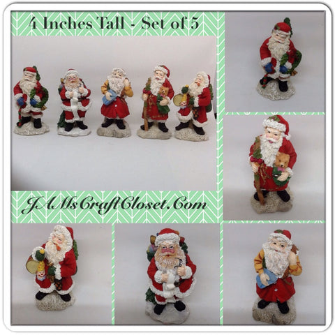 Vintage Santa Shelf Sitters Set of 5 Stands 4 Inches Tall Holiday Decor