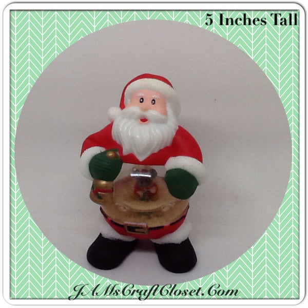 Vintage Santa Shelf Sitter Snow Globe Stands 5 Inches Tall Holiday Decor