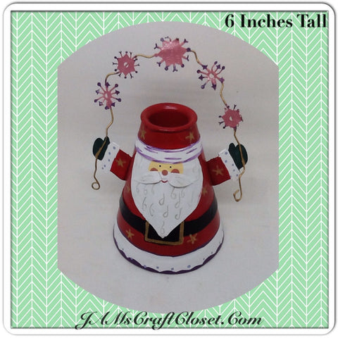 Vintage Tin Santa Shelf Sitter Candle Holder Stands 6 Inches Tall Holiday Decor