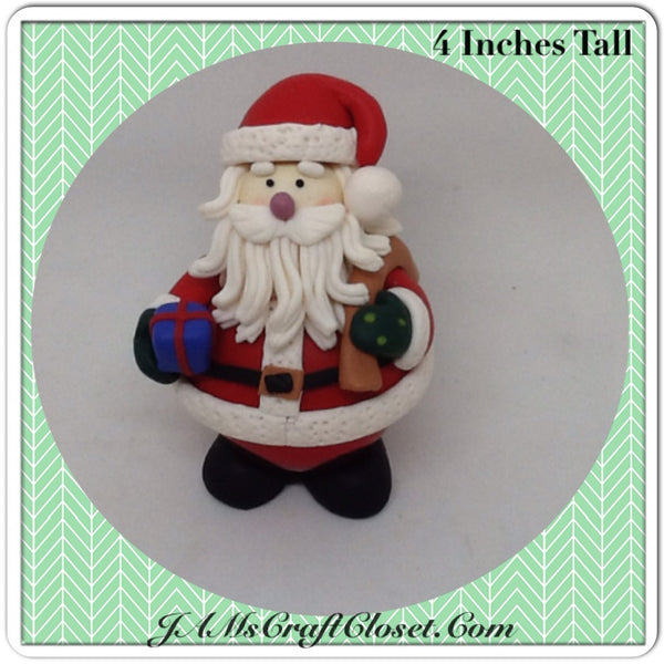 Vintage Clay Santa Shelf Sitter on a Christmas Bulb Stands  Inches Tall  Unique Holiday Decor JAMsCraftCloset