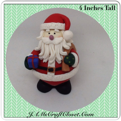 Vintage Clay Santa Shelf Sitter on a Christmas Bulb Stands 4 Inches Tall Unique Holiday Decor