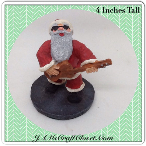 Vintage Guitar Playing Santa Shelf Sitter Cool Santa With Sunglasses