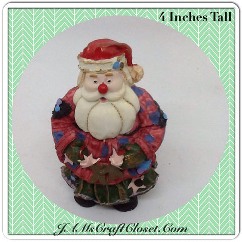 Vintage Red Nose Santa Shelf Sitter Maybe a Clown Santa With Patchwork Outfit