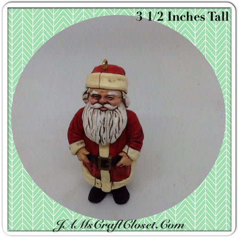 Vintage Santa Shelf Sitter or Ornament Holiday Tree or Shelf Decor
