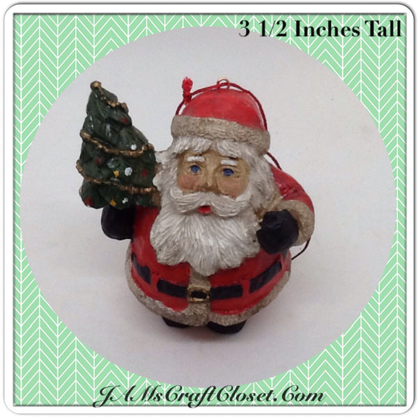 Vintage Santa Shelf Sitter or Ornament Holding a Christmas Tree Holiday Tree or Shelf Decor