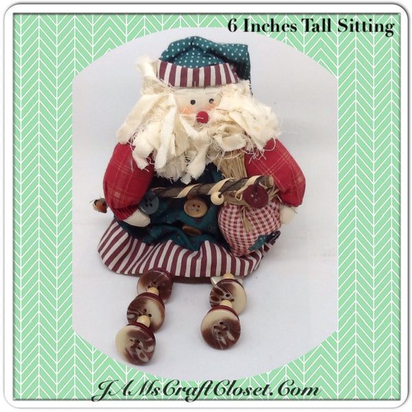 Vintage Santa Shelf Sitter Holding a Bag and Staff With Button Legs Great for the Tree Holiday Christmas Decor Gift Idea
