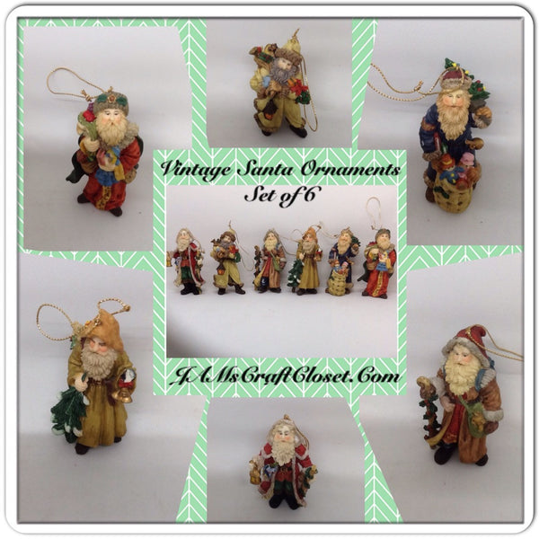 Vintage Santa Shelf Sitters Ornaments Set of 6 Stands Over 3 Inches Tall Christmas Holiday Decor JAMsCraftCloset