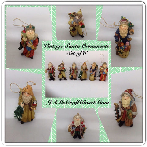 Vintage Santa Shelf Sitters Ornaments Set of 6 Stands Over 3 Inches Tall Holiday Decor