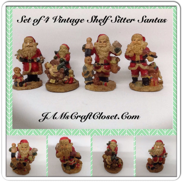 Vintage Santa Shelf Sitters Set of 4 Stands 3 Inches Tall Made Out of Pecans Holiday Christmas Decor JAMsCraftCloset