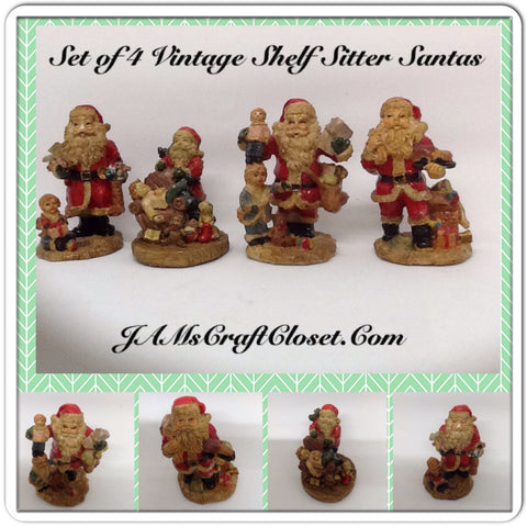 Vintage Santa Shelf Sitters Set of 4 Stands 3 Inches Tall Made Out of Pecans