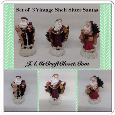 Vintage Santa Shelf Sitters Set of 3 Stands 4 Inches Tall Holiday Decor