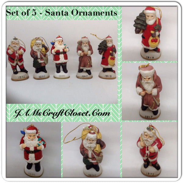 Vintage Santa Shelf Sitters Ornaments Set of 5 Stands 5 Inches Tall Holiday Christmas Decor JAMsCraftCloset