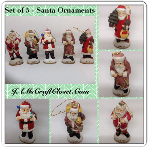 Vintage Santa Shelf Sitters Ornaments Set of 5 Stands 5 Inches Tall