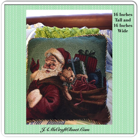 Vintage Santa Pillow in Red Green and Blue  18 Inch Square