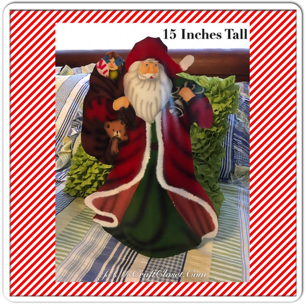 Vintage Metal Table Top Santa Holding a Bag of Toys and a Bell 15 Inches Tall Holiday Christmas Decor JAMsCraftCloset