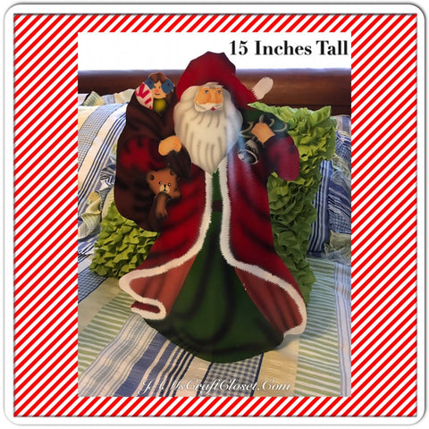 Vintage Metal Table Top Santa Holding a Bag of Toys and a Bell 15 Inches Tall
