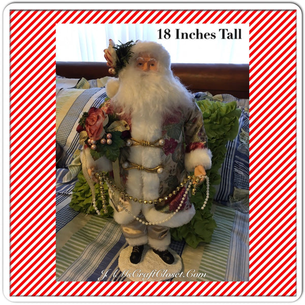 Vintage Table Top Santa in White Gold and Rose Floral Coat Holding a Rose Bouquet and Beads JAMsCraftCloset