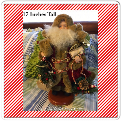 Vintage Table Top Santa in Red and Brown Fake Furl Coat Holding a Gold and Green Bay Full of Goodies