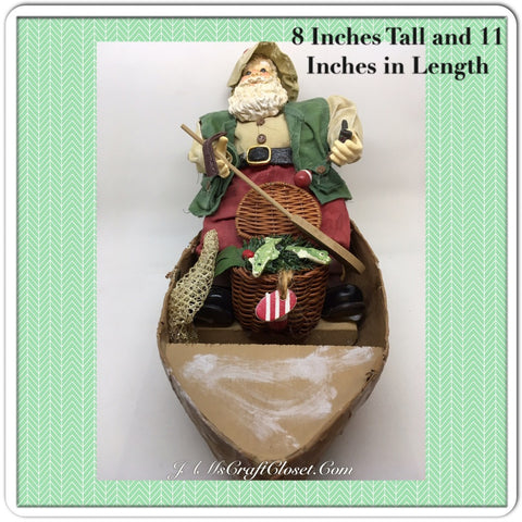 Vintage Fisherman Santa Shelf Sitter With His Net Paddle and Fishing Basket