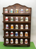 Thimbles The Country Store Thimbles and Display Rack Set of 25 Fine Porcelain and 24 Karat Gold Trim
