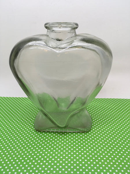 Bottle Vase Green Glass Heart Shaped With Marking 5 on Bottom - JAMsCraftCloset