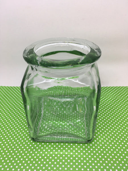 Vase Green Glass Square Vintage Heavy Glass With Markings Made in Spain Ben Rickery Wayne NJ JAMsCraftCloset