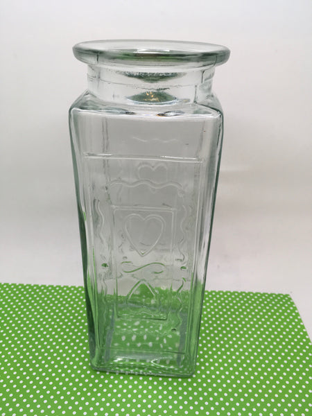 Bottle Flower Vase Green Glass Vintage With NO Markings Hearts and Squiggle Framing as an Accent - JAMsCraftCloset