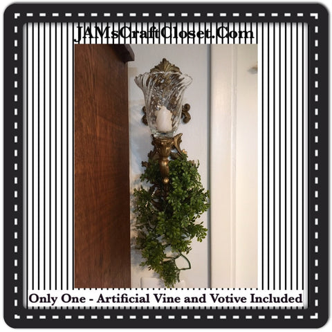 Sconce Gold Vintage With Artificial Vine and Clear Glass Swirled Votive
