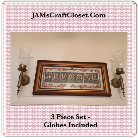 Vintage Wall Art Set of 3 WELCOME Print Picture and 2 Globed Sconces