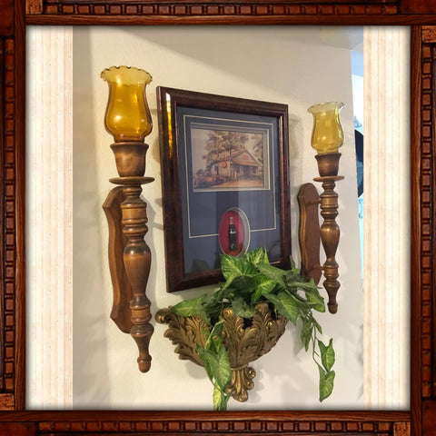 Vintage Wall Art Set of 4 Coca Cola Print Picture 2 Wooden Sconces Wall Pocket With Vine