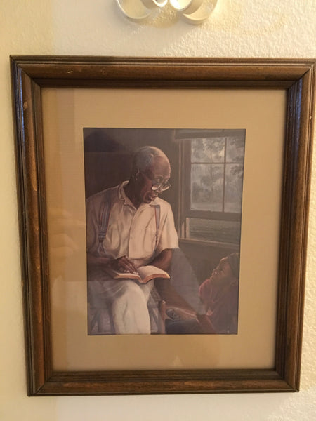 Ethnic Vintage Picture of a Grandfather Reading a Book to His Grandson With White Metal Wall Basket and Vines Accent Set of 2 Items  Vine Included, if you want it...