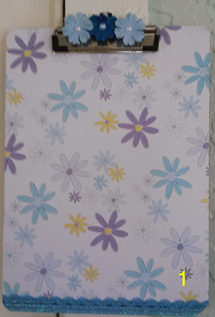 Clipboard Handcrafted Floral Design Pink Blue Yellow Blue Floral Accent - JAMsCraftCloset
