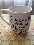 Mugs Message Hand Painted Green and White Mugs Do Things With Great Love  Love You to the Moon and Back Write Your Own Message - JAMsCraftCloset