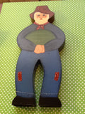 Shelf Sitters Man With Watermelon Vintage Wooden Handmade Hand Painted - JAMsCraftCloset