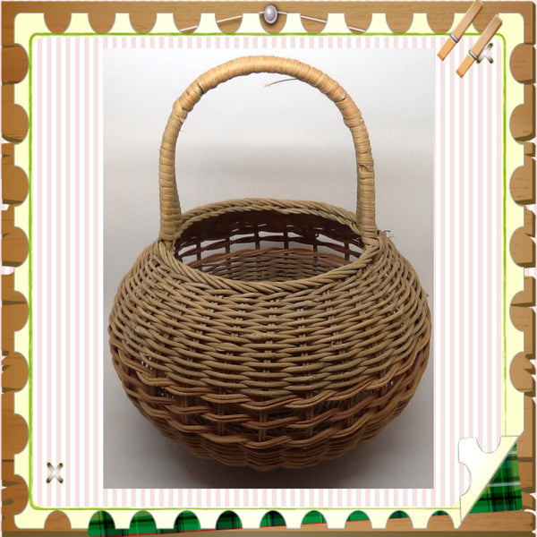 Beautiful handmade round vintage basket...Lovely anywhere in your home JAMsCraftCloset