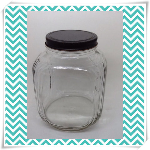 Jar Vintage Pale Green Glass With Lid