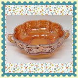 Candy Dish Vintage Amber Carnival Glass Rose Pattern Kitchen Home Centerpiece Cottage Chic Farmhouse - JAMsCraftCloset