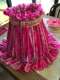 Rag Lampshade  Pink and Gold Cottage Chic Lighting Home Decor